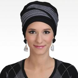 Turban Doris Noir Gris